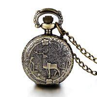 Vintage Locket Quartz White Dial Arabic Numerals Pocket Watch Pendant Necklace