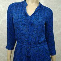 Aritzia T Babaton Bennett Dress Size S Blue Silk Leopard Print With Pockets