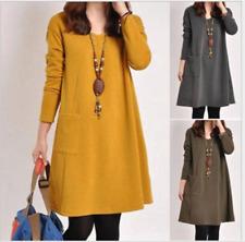 Winter Women Oversized Long Sleeve Tunic Loose Baggy Top Dress Kaftan Mini Dress