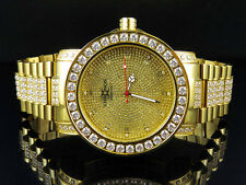 Men's Yellow Gold Finish Stainless Steel  Khronos Simulated Diamond Watch 48MM