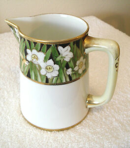 Nippon Pitcher Hand Painted Green & Gold Beaded Trim Marked 75 - 100 Years Old