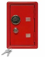 Kid's Coin Bank Safe - Single Digit Combination Lock and Key - 7in High Red