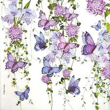 3 x Single Paper Napkins For Decoupage Craft Purple Butterfly Flock Flowers M424