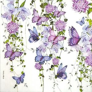 M424# 3x Single Paper Napkins For Decoupage Craft Purple Butterfly Flock Flowers