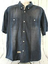 daa11d53a3d098 Rocksmith Jean Shirt Mens Extra Large Short Sleeve Cotton Button Front  Pockets