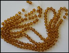 4mm Bicone Glass Beads AMBER x 2 strands approx 160 GOLDEN Craft Jewelry