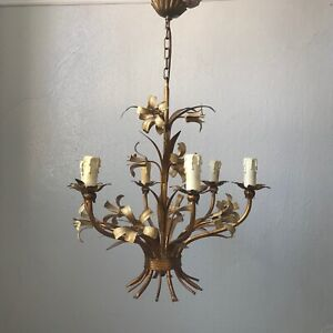 Hans Kögl Deckenlampe Lampe Florentiner vergoldet Blüten Stil Hollywood Regency