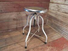 Vintage Adjustable Industrial Stool Chrome Seat Drafting Table Machinist Desk