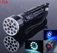 LED Flashlight UV Ultra Violet Light & Red Laser Pointer Torch Travel Lamp