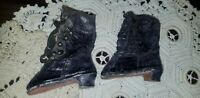 ANTIQUE FRENCH FASHION BLACK LEATHER METAL BUTTON UP DOLL SHOES BOOTS