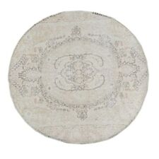 VINTAGE 6 ft ROUND MUTED WASHED-OUT COLOR T ABRIZ GEOMETRIC AREA RUG WOOL 6'x6'
