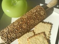Embossed Dough Cookie Roller Engraved Rolling Pin Flowers Carved Wooden Rolling