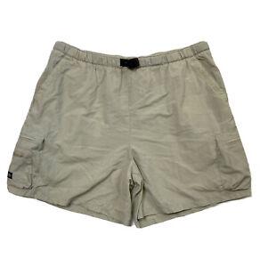 Columbia Men Size XL (Meas 36x6) Beige Hiking Shorts Belted Elastic Waist