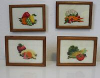 Vintage Framed Completed Crewel Embroidery Fruit And Vegetable Panels Set of 4
