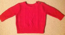 New Baby Gap Red Cable Crewneck Sweater With Button Shoulder 3-6 Mo