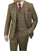 MEN'S PEAKY BLINDERS 3 PIECE BROWN TWEED ALBERT SUIT -  BRITISH DESIGNER CAVANI