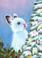 ACEO, PRINT, RABBIT, BUNNY, HARE, CHRISTMAS TREE, HOLLY, STAR