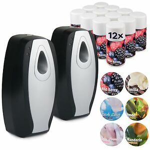 2 AUTOMATIC AIR FRESHENER DISPENSER 12 AEROSOL REFILL CANS SET COMMERCIAL