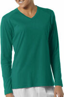 A4 Women's Performance Moisture Wick Long Sleeve Fusion V Neck T-Shirt. NW3233