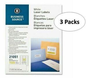 "Business Source 21051 White Laser Label - 1"" X 2.62"", 30/Sheet, 3 Packs"