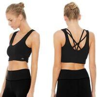 Alo Yoga Delicate Black Twisted Bra Tank size Medium retail $62
