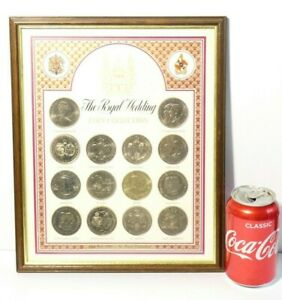Framed 1981 Royal Wedding Commemorative 14 Coin Collection Commonwealth Coins