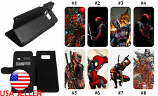 Galaxy S20 S8 S10 Note10 9 Leather Wallet Flip Stand Phone Case Deadpool Comic