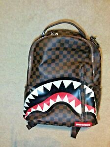 SPRAYGROUND Sharks in Paris Backpack -Sleek in Brown 15inch - In Great Condition