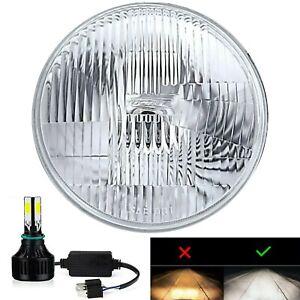 """One 7"""" Stock Glass Lens Metal 12v Headlight LED 6K 26/40w Light Bulb Headlamp 1x"""