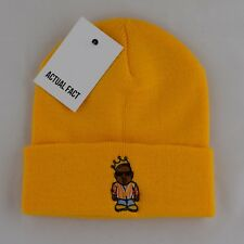 Actual Fact Biggie Coogi Cartoon Embroidered Hip Hop Roll Up Yellow Beanie Hat