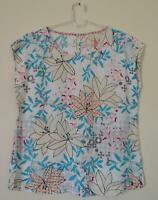 NEW EX WHITE STUFF UK SIZE 8 10 14 16 18 TURQUOISE IVORY FLORAL TOP BLOUSE