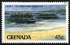 WWII US Marines Invade Guadalcanal Landing Craft Personnel LCP(L) Warship Stamp