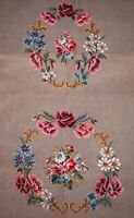 EP 2291/3 Vintage Floral Bouquet 2pc Chair Seat Set Preworked Needlepoint Canvas