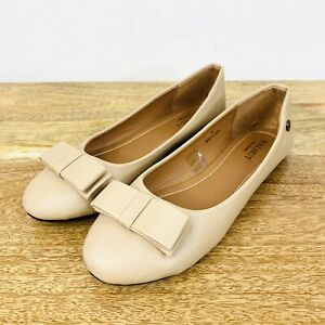 Walnut Melbourne Ballet Flats Tan Brown Vegan Leather Bow Front Size 41 or 10
