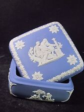 Wedgwood 2Pc Trinket Box & Lid Greek Square Design Aesculapius Treating A Youth