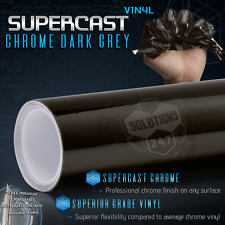 "Black Grey Supercast Flex Stretch Mirror Chrome Vinyl Wrap Air Free 24"" x 60"" In"