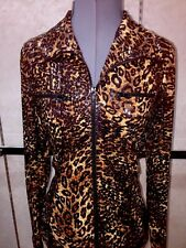 NWOT Designer NABI Leopard Full Zip Long Sleeve Stretch Jacket Size M MSRP $95