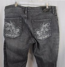 Ed Hardy Gray Silver Fish Embroidered Slim Jeans 22