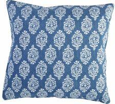 Indigo Block Print Reversible Cushion Cover 16X16 Cotton Vintage Shams Throw