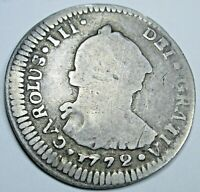 1772 G P Guatemala Silver 1 Reales Antique Spanish Colonial Pirate Treasure Coin