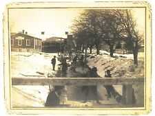 19th Century Cabinet Photo of Workers Cutting Ice Blocks