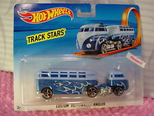 NEW ☀2017 Hot Wheels Track Stars CUTOM VOLKSWAGEN HAULER☀Blue/flames; oh5