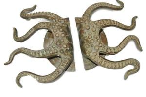 "set OCTOPUS Solid Brass hollow hand antique green Door PULL HANDLE 15"" aged B"