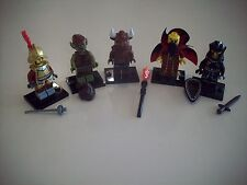 Lego Minifigure Series Lot Z ~ 5 Assorted with Black Bases & Accessories
