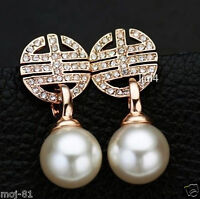 18K Rose Gold Plated CZ Crystal White Shell Pearl Stud Dangle Fashion Earring