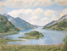 F.foxworthy. PAESAGGIO pittura ad olio a bordo di una vista lago e montagne 1989