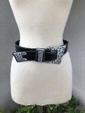 Vintage Boho Black Leather Belt Geometric Buckle Sm Kandell & Marcus