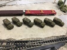 N Scale Ww 2 era military army (6) Dodge ambulances  flat car loads 3 d unpaint