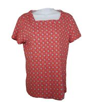 Kim Rogers Womens Shirt Top Size Large Red Short Sleeve Blouse Square Neck