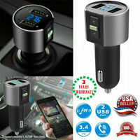 Wireless In-Car Bluetooth FM-Transmitter MP3 Radio USB Fast Adapter Charger G4L1